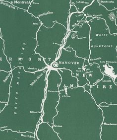Archival map of the Upper Valley from Rauner Library at Dartmouth College.
