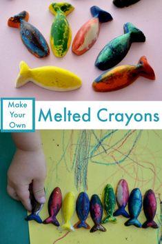 Crayon melting - A fun way to use all those broken crayon bits! Crayon melting - A fun way to use all those broken crayon bits! Projects For Kids, Diy For Kids, Craft Projects, Crafts For Kids, Preschool Art, Toddler Preschool, Fun Crafts, Arts And Crafts, Crayon Melting