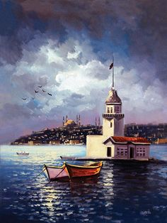 Kız Kulesi Tabloları kkt 062 Turkish Art, Seascape Paintings, Landscape Paintings, Art Pictures, Oil Painting Pictures, Pictures To Paint, Art Sketches, Art Drawings, Beautiful Artwork