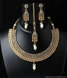 Indian Bollywood Polki Women Wear Ethnic Designer Dangle Nacklace Earrings Set #VGjewel