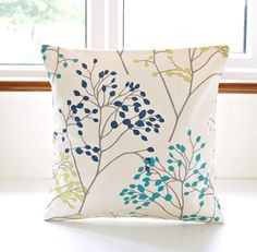 16 Inch Decorative Pillow Cover Teal Blue, Lime Yellow Green, White Navy  Leaves, Cushion Cover