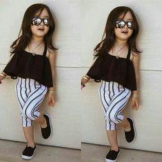Baby Kids Infants Girls Summer Gauze Dress Tops Clothes Sun-top Black Gift Wish Cute Little Girls Outfits, Kids Outfits Girls, Little Girl Fashion, Toddler Fashion, Kids Fashion, Kids Girls, Fashion Clothes, Baby Outfits, Fashion Models