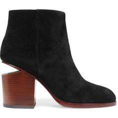 ALEXANDER WANG   Gabi cutout suede ankle boots (625 CAD) ❤ liked on Polyvore featuring shoes, boots, ankle booties, short black boots, black suede booties, suede bootie, black cutout booties and cutout ankle boots