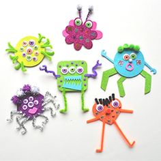 Cute little monsters kids can make using foam, pom poms, and pipe cleaners!