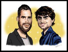 Karikatuur van Nick en Simon getekend door sneltekenaar Christel Schols