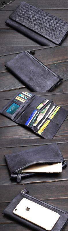 Handmade men long leather wallet men bifold vintage gray long wallet