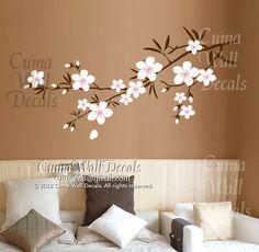 Cherry blossom wall decals Nursery wall sticker Branch vinyl wall decal Children wall decals nature - branch with flower Z162 Cuma. $37.00, via Etsy.