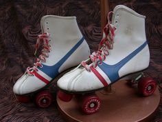 These were my skates except I had a red and white pompom on the front with a bell attached to the center.