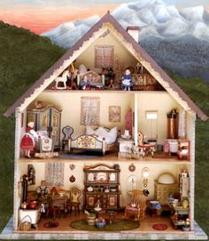 the Painting Bookstore: Inside the same Scottie's Bavarian Doll-Haus - by Scottie Foster, Virginia, USA.