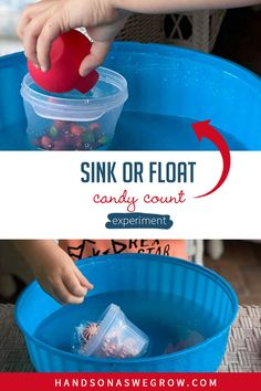 Toddlers and preschoolers will love counting candy to make a container sink with this easy teaching numbers science experiment you can do at home with supplies you already have. Gross Motor Activities, Outdoor Activities For Kids, Hands On Activities, Toddler Activities, Fun Activities, Science For Toddlers, Preschool Science, Toddler Preschool, Teaching Numbers