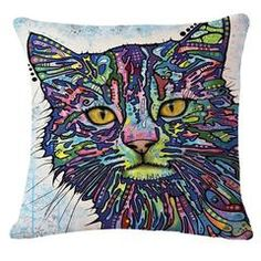 Colorful Mosaic Cat Throw Pillows Frames On Wall, Framed Wall Art, Canvas Wall Art, Wall Art Prints, Acrylic Canvas, Pop Art Colors, Cat Colors, Colorful Paintings, Contemporary Paintings