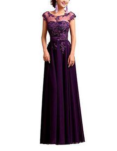 Lactraum Brautjungfernkleid Ballkleid Abendkleid Abschlussball Kleider Hochzeitskleider Abiballkleid Spitze Pailletten Lila Violett Armlos Reißverschluss LF2253 (36)