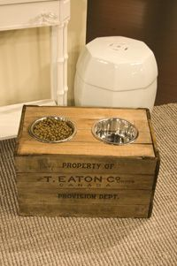 Upcycled wooden crate for dog food stand