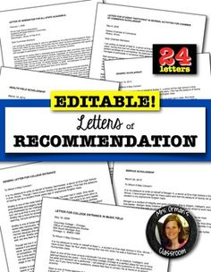 LETTERS OF RECOMMENDATION FOR COLLEGE, SCHOLARSHIPS, AWARDS, TEACHING - TeachersPayTeachers.com