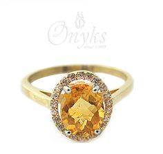 Gold Ring with Citrine and Zirconia by MyOnyks on Etsy