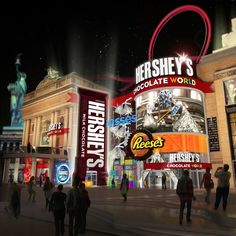 Las Vegas Chocolate World The Hershey Co., shows the Hershey Chocolate World that will open later this year in Las Vegas. The Las Vegas location will be located at the New York New York Hotel & Casino. (Provided by The Hershey Co. Excalibur Las Vegas, Las Vegas Vacation, Vegas Fun, Italy Vacation, Vacation Places, Vacation Spots, Vacation Ideas, Chocolate World, Hershey Chocolate