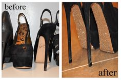 making glitter shoes