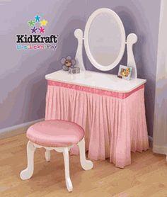 [Little Girl Vanity Set] Kids Vanity Table & Chair Set Princess Bedrooms, Princess Room, Bedroom Themes, Girls Bedroom, Bedroom Ideas, Girls Vanity Table, Vanity Tables, Little Girl Vanity, Dress Up Stations