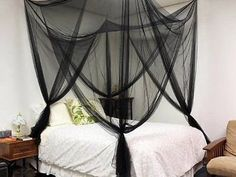 [Canony Bed DIY Ideas] Black 4 Corner Post Bed Canopy Mosquito Net Full Queen King Size Netting Bedding >>> To view further for this article, visit the image link. #CanopyBed