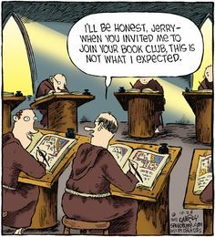 """I'll be honest Jerry -- when you invited me to join your book club, this is not what I expected. Catholic Memes, Catholic Books, Catholic Answers, Book Nerd, Book Club Books, Book Clubs, I Love Books, Books To Read, Librarian Humor"