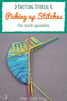 Knitting Tutorial: Picking Up Gusset Stitches Learn how to pick up the gusset stitches on the side of a heel flap or band heel for hand knit socks. Knitting Help, Knitting Stitches, Knitting Designs, Knitting Socks, Knitting Patterns Free, Knitting Projects, Hand Knitting, Stitch Patterns, Crochet Patterns