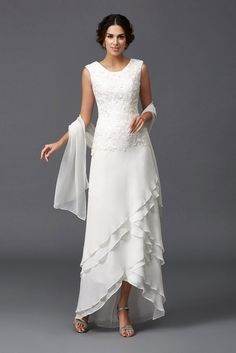 Shop low price a-line scoop neck ankle-length chiffon wedding dress with lace online. Custom-made any size or color. Pro since 2009.