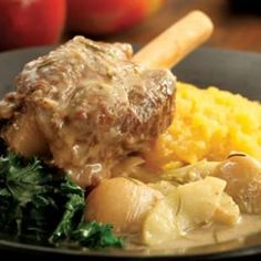 Hard Cider-Braised Lamb Shanks - Serve these succulent braised lamb shanks dressed in a savory apple-shallot sauce for a special fall supper.  Shallots are the base for the rich sauce. Serve over mashed rutabaga or potatoes. Hard cider is usually available in 6-packs where beer or wine are sold.