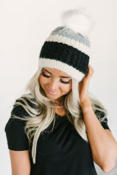 Striped Pom Beanie -