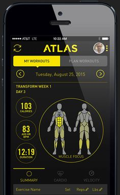 Atlas Wristband app homescreen showing muscle focus calories and heart rate