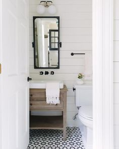 Bathroom Goals Powder Room From Using The In Stock Atlas II Pattern Shiplap Plus A Beautiful Vanity And Mirror If You Can Fit Into Your
