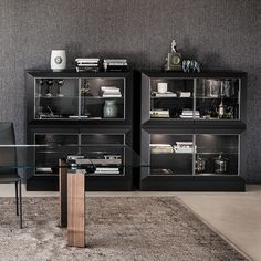 Hilton modern display cupboard by Cattelan is also a sideboard in various sizes; Dining Room Design, Kitchen Design, Chic Living Room, Sideboard, Cupboard, Liquor Cabinet, Glass Doors, Storage, Offices
