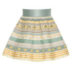 """LENA HOSCHEK """"Tutti Frutti"""" – Mini Ribbon Skirt lemonade – The classic A-line skirt made entirely of ribbons – but for kids! With a comfortable elasticated waistband, this style features a selection of patterned ribbons in pastel yellow and blue. Tutti Frutti, Skirt Mini, Ribbon Skirts, Native Style, Vintage Inspired Outfits, Pastel Yellow, Baby Shower, Piece Of Clothing, A Line Skirts"""