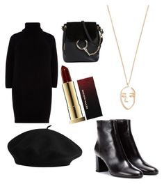 """""""Black To Black"""" by bedzia on Polyvore featuring River Island, Yves Saint Laurent, Chloé, Amber Sceats and Kevyn Aucoin"""