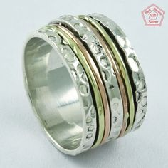DOTTED HAMMERED DESIGN PROGRESSIVE 925 STERLING SILVER SPINNER RING,R5008 #SilvexImagesIndiaPvtLtd #Spinner #AllOccasions
