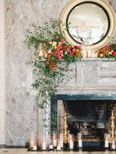 flower + candle fireplace installation | Landon Jacob