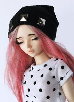 Msd BJD black studded slouchy beanie by MonstroDesigns on Etsy