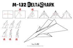 Avión de papel M-132 DeltaShark | Do it your paper airplane!! Origami Paper Plane, Instruções Origami, Origami Frog, Origami Dragon, Useful Origami, Origami Star Instructions, Origami Crane Tutorial, Origami Koi Fish, Paper Art Design