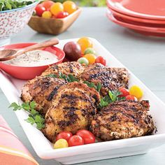 Grilled Chicken Thighs with White Barbecue Sauce | MyRecipes.com