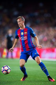 Juan Camara of FC Barcelona controls the ball during the Joan Gamper trophy match between FC Barcelona and UC Sampdoria at Camp Nou on August 10, 2016 in Barcelona, Catalonia.