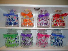 6 Personalized candy or treat jars great teacher by DottedDesigns, $50.00
