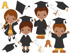 More African American #Clipart can be found here: http://etsy.me/2obHLML  ITEM: African American Graduation Kids Clipart - Digital #Vector, Little Boys, Little Girls, Cap and... #thecreativemill
