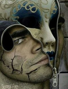 An image of a mans face unzipped, revealing a mask within his face. I like this piece because it implies that we all have different sides to our personality, I also like the mask pattern and the minor details like the cracks on the face. Art Bizarre, Weird Art, Strange Art, Frida Art, Foto Art, Gcse Art, Surreal Art, Photo Manipulation, Dark Art
