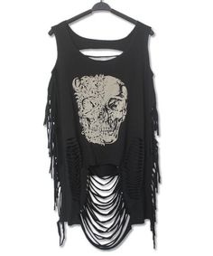 Casual Scoop Neck Skull Print Ripped Top For Women FREE SHIPPING !!! by RebelStreetClothing on Etsy