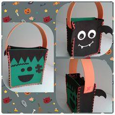 Una idea para la bolsa de los dulces en halloween. Realizada en fommy.