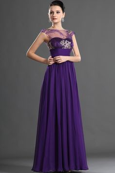 Long dark purple dress with a small amount of bling and a lace top
