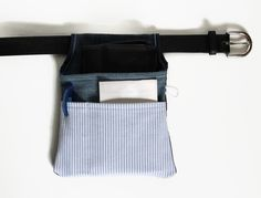 Waiter Holster blue reused denim and shirt, hip Holster by Sunchildsews Belt Pouch, Purse Wallet, Shops, Hip Bag, Colored Jeans, Cotton Canvas, Austria, Buy And Sell, Blue And White