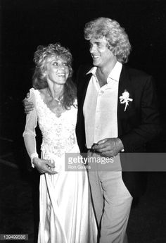 Actor Michael Landon and wife Cindy Clerico attend Michael Landon-Cindy Clerico Wedding Reception on February 1983 at La Scala Restaurant in Malibu, California. Get premium, high resolution news photos at Getty Images Michael Landon, Famous Men, Famous People, Victor French, Couple Presents, Terence Hill, Oscar Winners, Famous Stars, Hollywood Icons