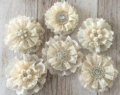 6 flores de encaje, hecho a mano encaje de flores