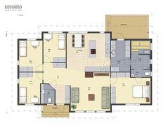 Hirsitalo Heimola 151 - Kuusamo Hirsitalot Future House, House Plans, Sweet Home, Floor Plans, Layout, Flooring, How To Plan, Inspiration, House Ideas