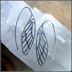 Silver wing earrings ~ dragonfly, butterfly, angel wings ~ art nouveau nature inspired, earthy symbol of recovery and transformation